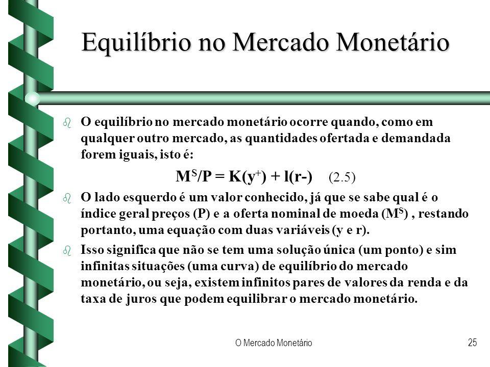 O Mercado Monetário25 Equilíbrio no Mercado Monetário b b O equilíbrio no mercado monetário ocorre quando, como em qualquer outro mercado, as quantidades ofertada e demandada forem iguais, isto é: M S /P = K(y + ) + l(r-) (2.5) b b O lado esquerdo é um valor conhecido, já que se sabe qual é o índice geral preços (P) e a oferta nominal de moeda (M S ), restando portanto, uma equação com duas variáveis (y e r).