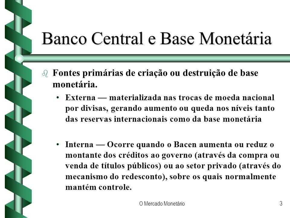 O Mercado Monetário3 Banco Central e Base Monetária b b Fontes primárias de criação ou destruição de base monetária. Externa materializada nas trocas