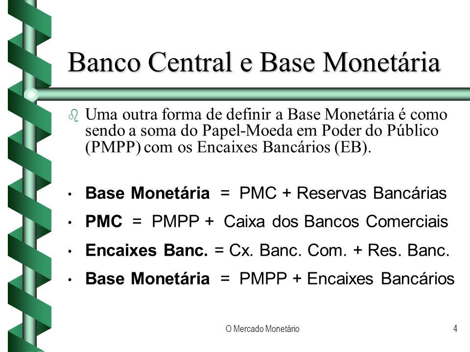 O Mercado Monetário4 Banco Central e Base Monetária b b Uma outra forma de definir a Base Monetária é como sendo a soma do Papel-Moeda em Poder do Público (PMPP) com os Encaixes Bancários (EB).