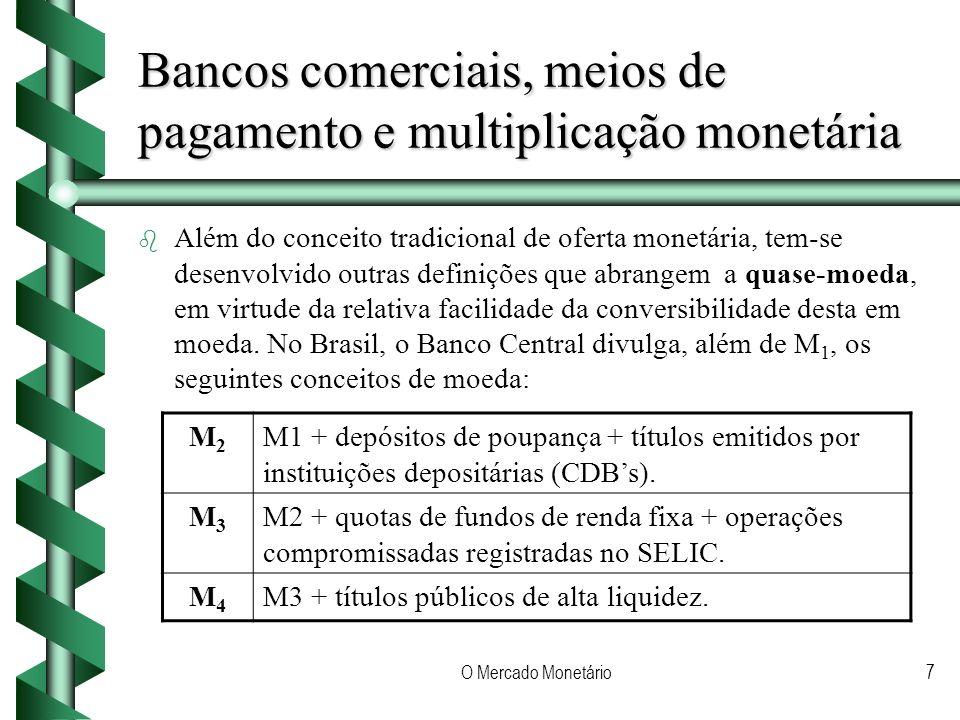 O Mercado Monetário7 Bancos comerciais, meios de pagamento e multiplicação monetária b b Além do conceito tradicional de oferta monetária, tem-se desenvolvido outras definições que abrangem a quase-moeda, em virtude da relativa facilidade da conversibilidade desta em moeda.