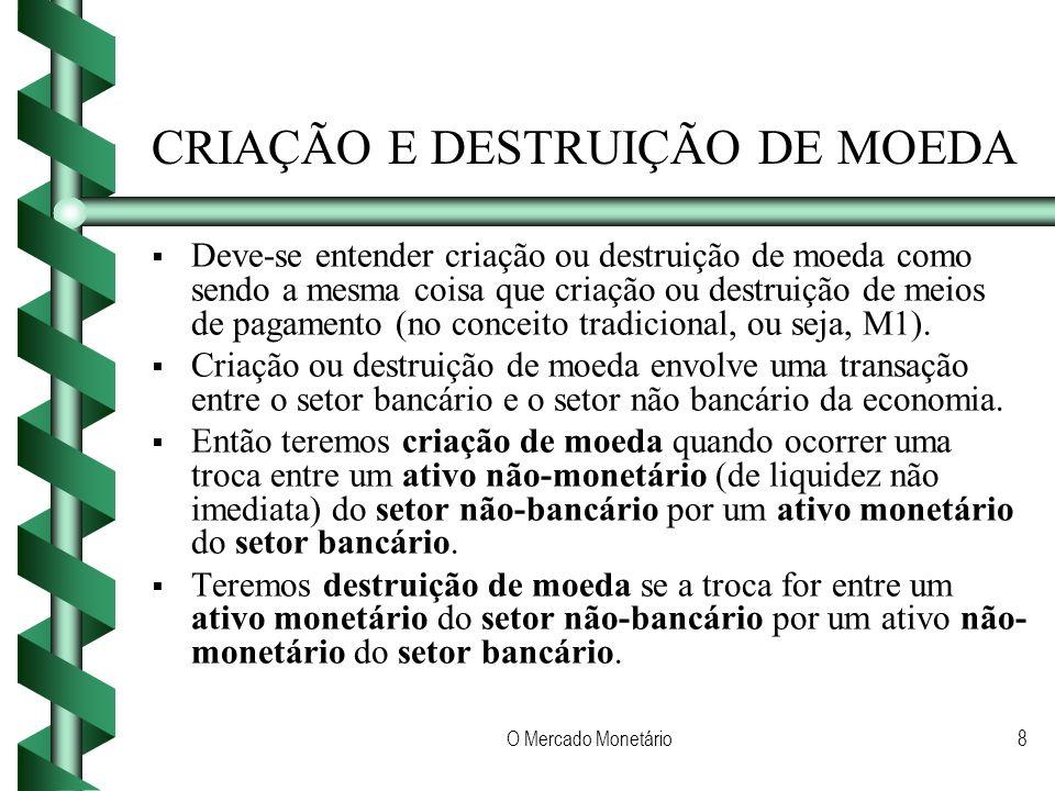 O Mercado Monetário8 CRIAÇÃO E DESTRUIÇÃO DE MOEDA Deve-se entender criação ou destruição de moeda como sendo a mesma coisa que criação ou destruição de meios de pagamento (no conceito tradicional, ou seja, M1).