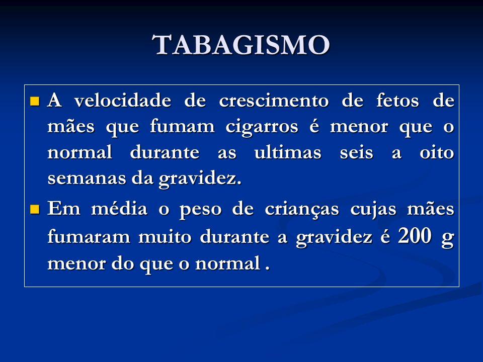 TABAGISMO A velocidade de crescimento de fetos de mães que fumam cigarros é menor que o normal durante as ultimas seis a oito semanas da gravidez. A v