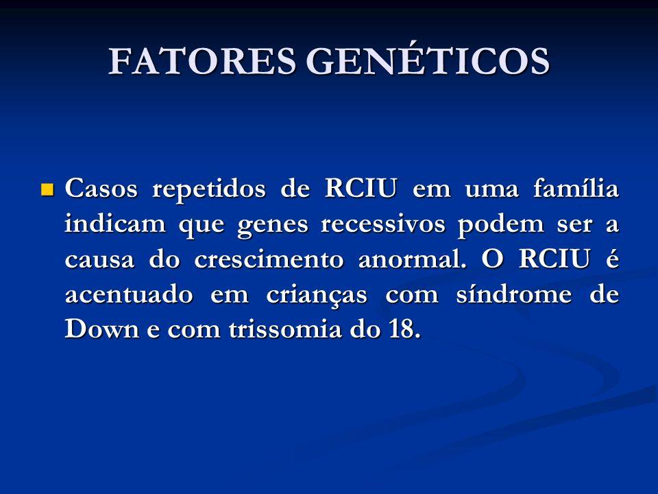 FATORES GENÉTICOS Casos repetidos de RCIU em uma família indicam que genes recessivos podem ser a causa do crescimento anormal. O RCIU é acentuado em