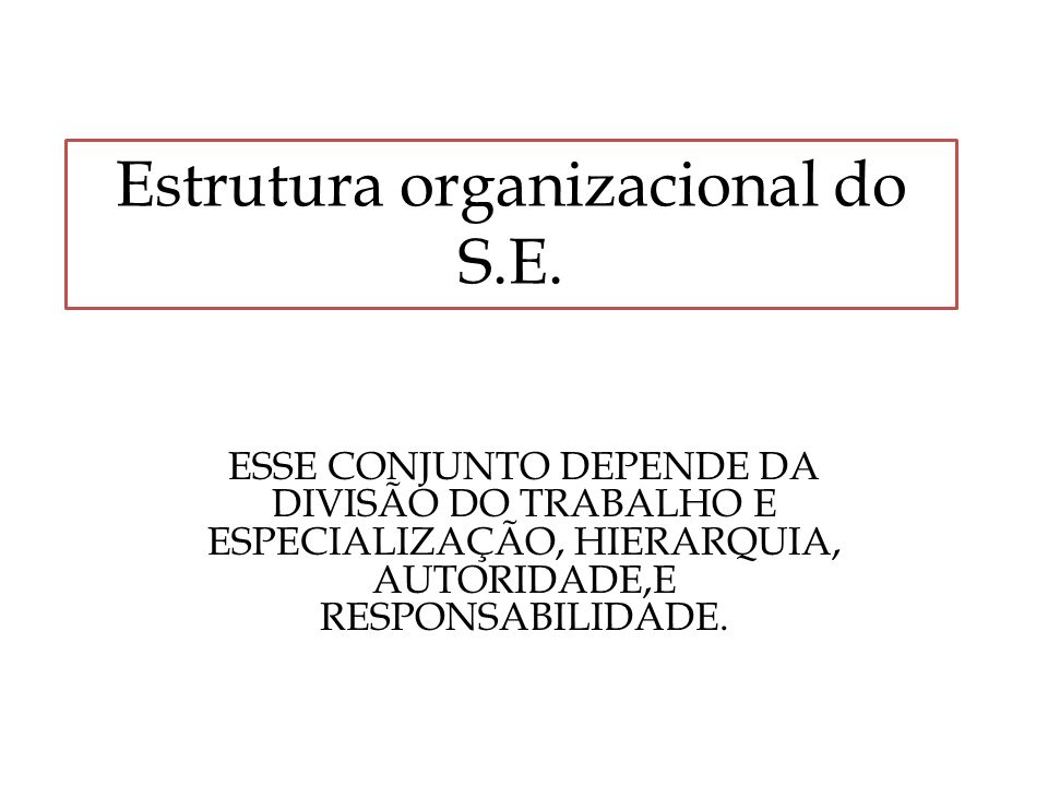 Estrutura organizacional do S.E. ESSE CONJUNTO DEPENDE DA DIVISÃO DO TRABALHO E ESPECIALIZAÇÃO, HIERARQUIA, AUTORIDADE,E RESPONSABILIDADE.