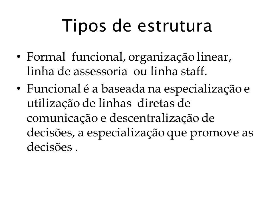 Tipos de estrutura Formal funcional, organização linear, linha de assessoria ou linha staff. Funcional é a baseada na especialização e utilização de l