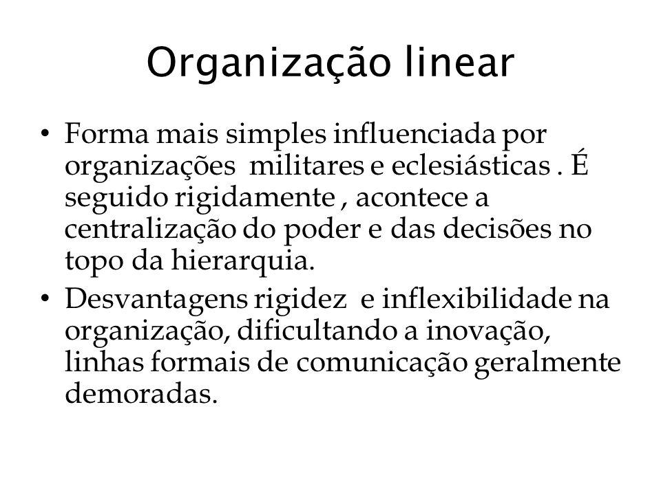 Organização linear Forma mais simples influenciada por organizações militares e eclesiásticas. É seguido rigidamente, acontece a centralização do pode