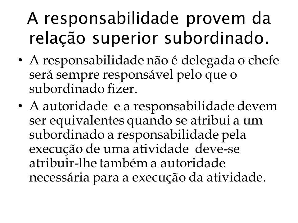 A responsabilidade provem da relação superior subordinado. A responsabilidade não é delegada o chefe será sempre responsável pelo que o subordinado fi