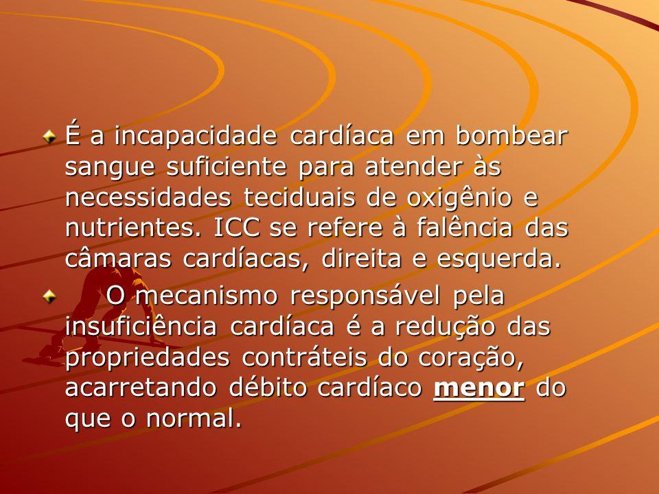 É a incapacidade cardíaca em bombear sangue suficiente para atender às necessidades teciduais de oxigênio e nutrientes. ICC se refere à falência das c
