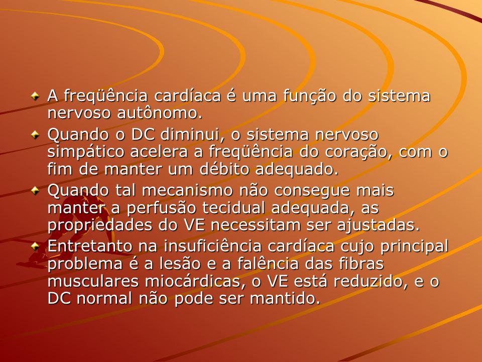 A freqüência cardíaca é uma função do sistema nervoso autônomo. Quando o DC diminui, o sistema nervoso simpático acelera a freqüência do coração, com