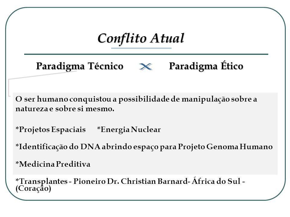 Conflito Atual Paradigma Técnico Paradigma Ético O ser humano conquistou a possibilidade de manipulação sobre a natureza e sobre si mesmo. *Projetos E