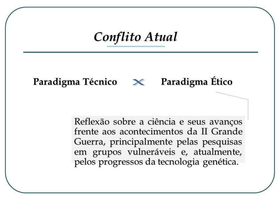 Conflito Atual Paradigma Técnico Paradigma Ético Reflexão sobre a ciência e seus avanços frente aos acontecimentos da II Grande Guerra, principalmente
