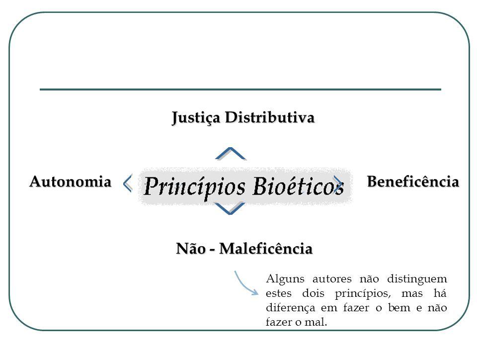 Beneficência Não - Maleficência Autonomia Justiça Distributiva Alguns autores não distinguem estes dois princípios, mas há diferença em fazer o bem e