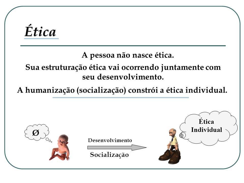 A pessoa não nasce ética. Ética Individual Ética Sua estruturação ética vai ocorrendo juntamente com seu desenvolvimento. A humanização (socialização)