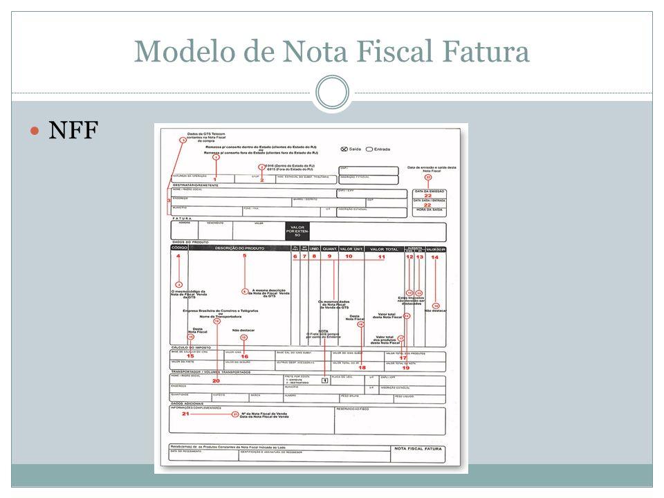 Modelo de Nota Fiscal Fatura NFF