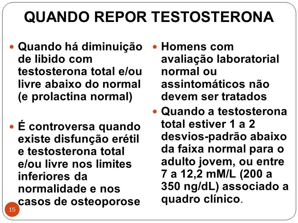 15 QUANDO REPOR TESTOSTERONA Homens com avaliação laboratorial normal ou assintomáticos não devem ser tratados Quando a testosterona total estiver 1 a