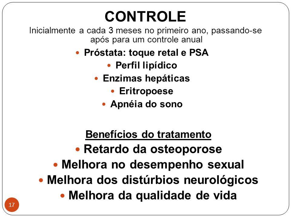 17 CONTROLE Inicialmente a cada 3 meses no primeiro ano, passando-se após para um controle anual Próstata: toque retal e PSA Perfil lipídico Enzimas h