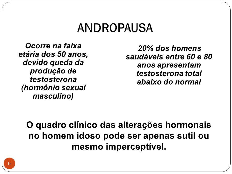 5 ANDROPAUSA 20% dos homens saudáveis entre 60 e 80 anos apresentam testosterona total abaixo do normal Ocorre na faixa etária dos 50 anos, devido que