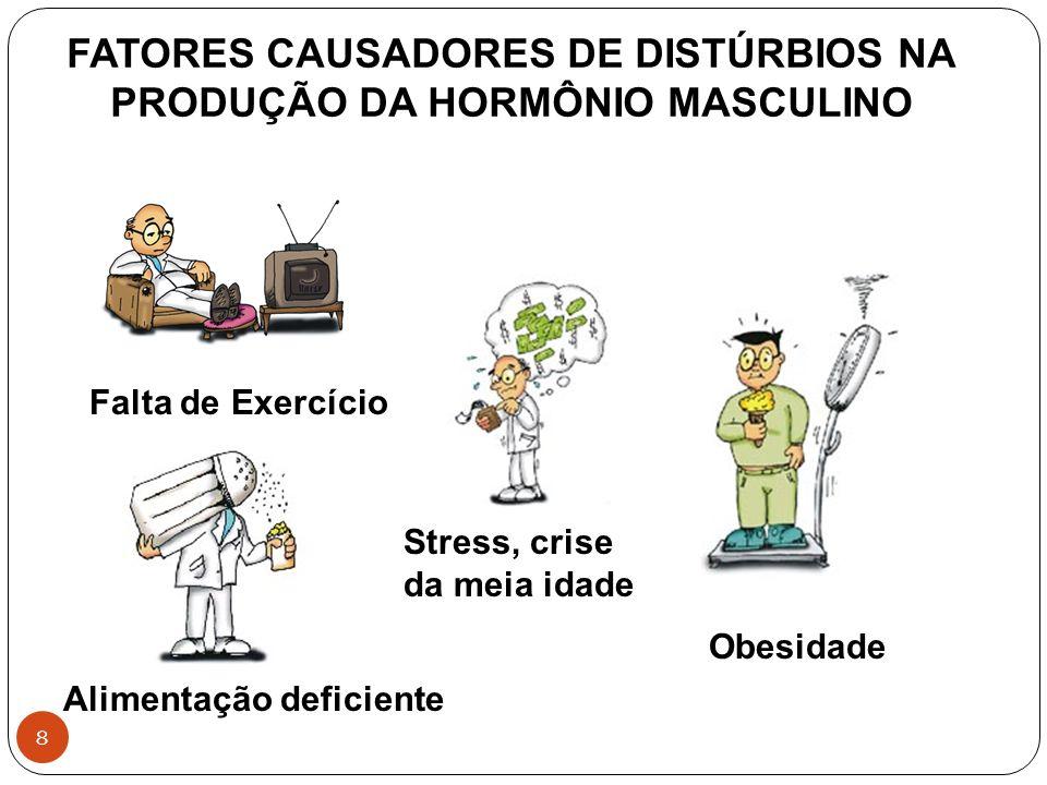 8 FATORES CAUSADORES DE DISTÚRBIOS NA PRODUÇÃO DA HORMÔNIO MASCULINO Falta de Exercício Obesidade Alimentação deficiente Stress, crise da meia idade