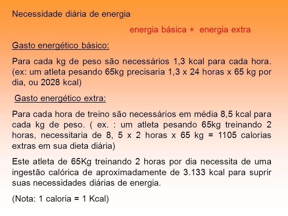 Necessidade diária de energia energia básica + energia extra Gasto energético básico: Para cada kg de peso são necessários 1,3 kcal para cada hora. (e