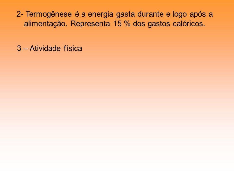 2- Termogênese é a energia gasta durante e logo após a alimentação. Representa 15 % dos gastos calóricos. 3 – Atividade física