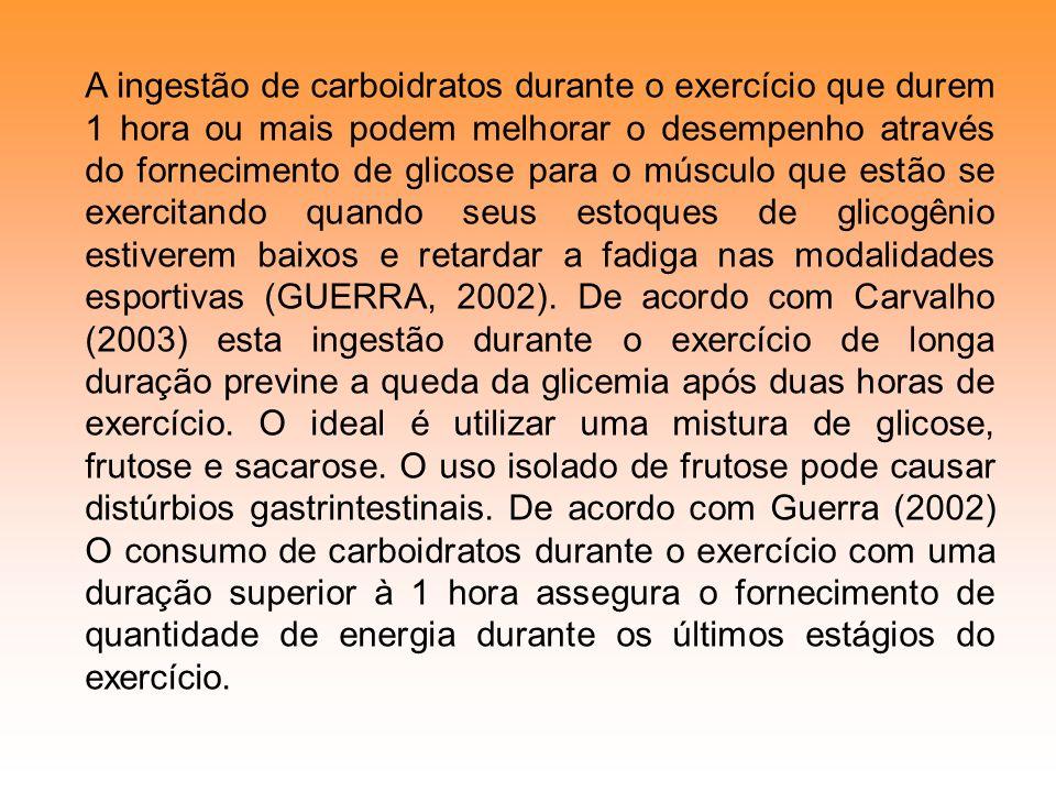 A ingestão de carboidratos durante o exercício que durem 1 hora ou mais podem melhorar o desempenho através do fornecimento de glicose para o músculo