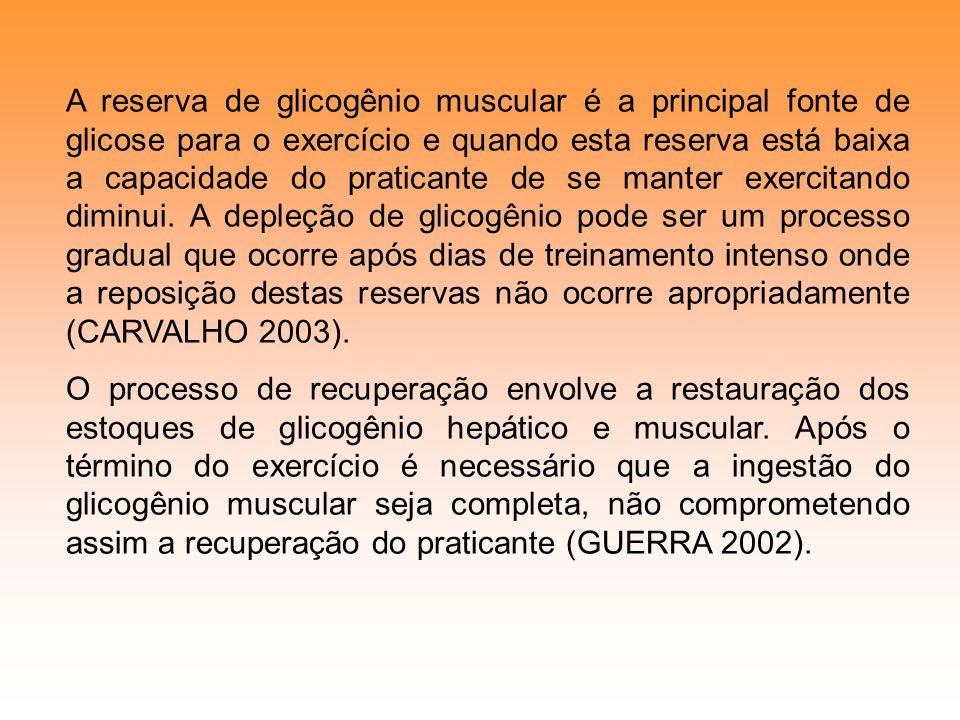 A reserva de glicogênio muscular é a principal fonte de glicose para o exercício e quando esta reserva está baixa a capacidade do praticante de se man