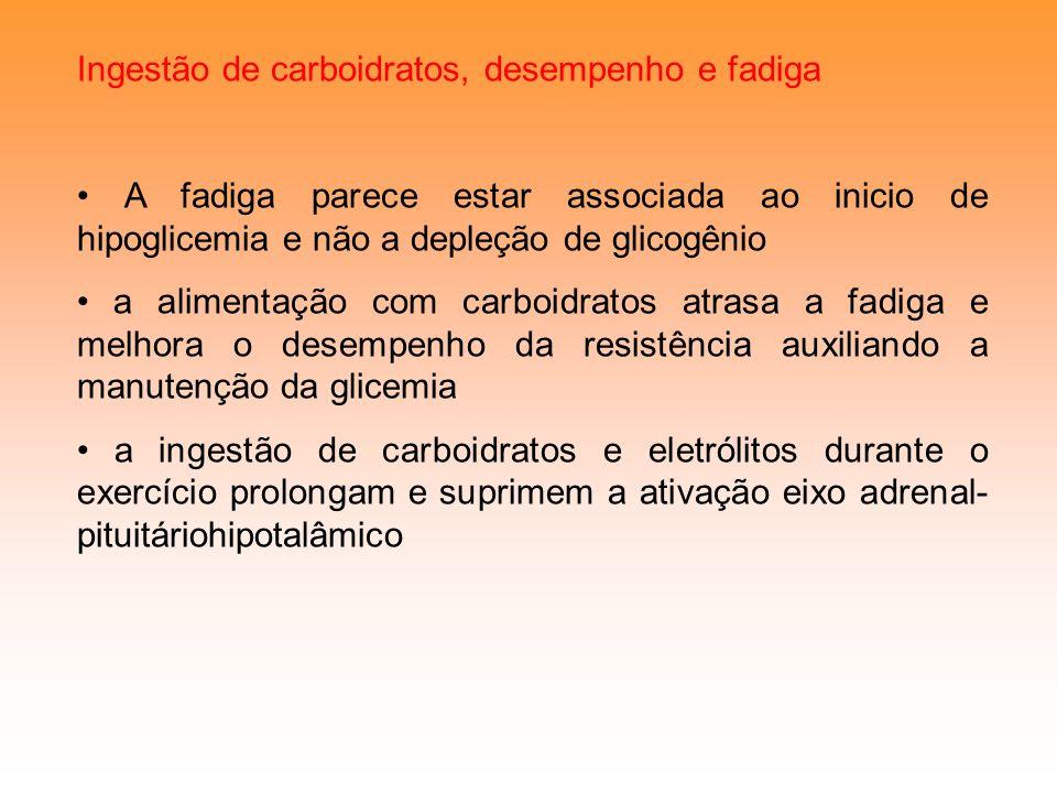 Ingestão de carboidratos, desempenho e fadiga A fadiga parece estar associada ao inicio de hipoglicemia e não a depleção de glicogênio a alimentação c