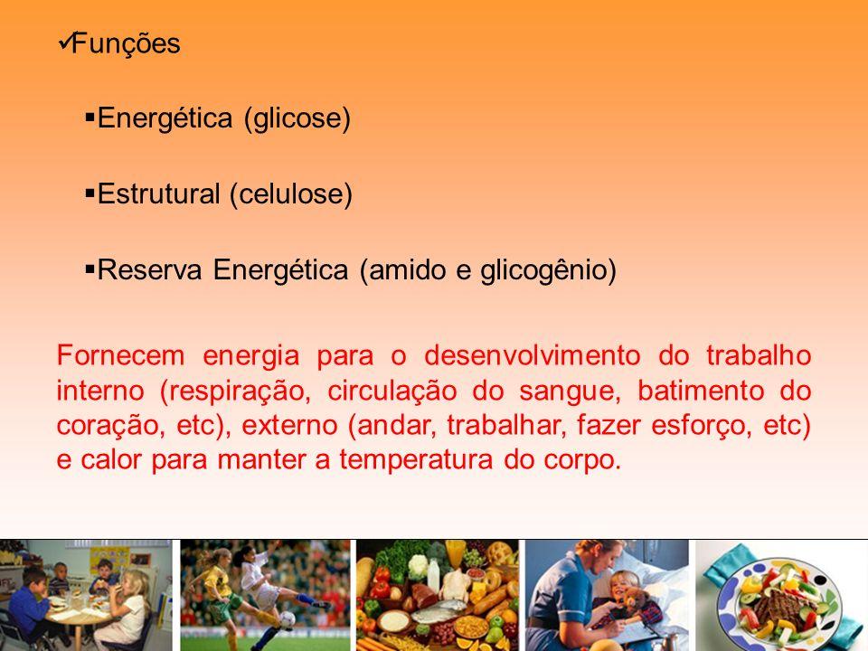 Funções Estrutural (celulose) Energética (glicose) Reserva Energética (amido e glicogênio) Fornecem energia para o desenvolvimento do trabalho interno
