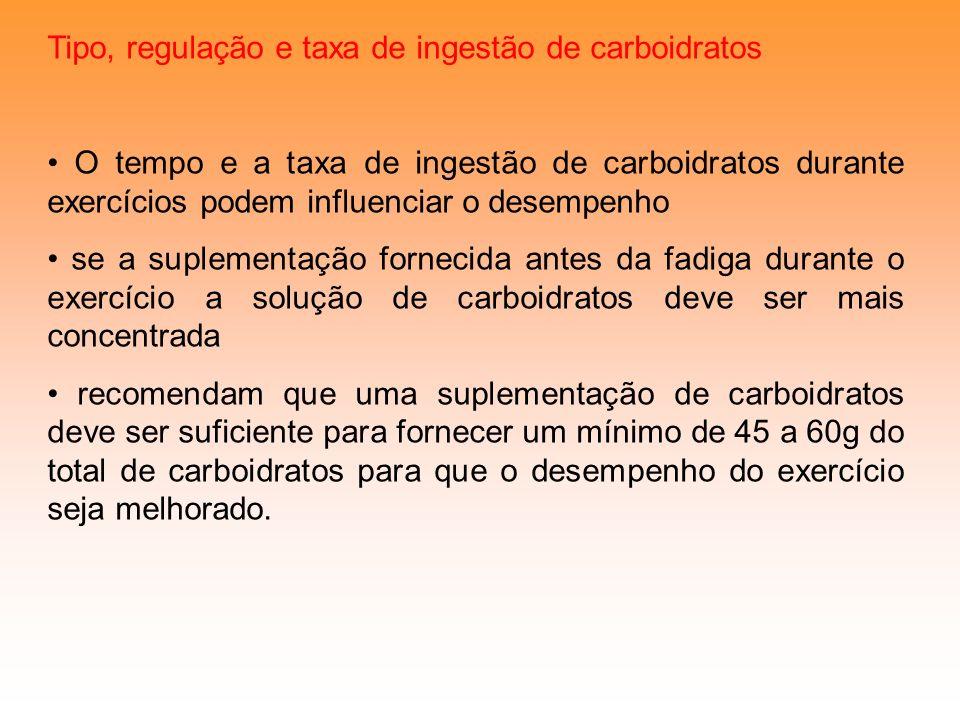 Tipo, regulação e taxa de ingestão de carboidratos O tempo e a taxa de ingestão de carboidratos durante exercícios podem influenciar o desempenho se a