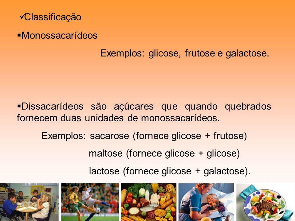 Classificação Monossacarídeos Exemplos: glicose, frutose e galactose. Dissacarídeos são açúcares que quando quebrados fornecem duas unidades de monoss