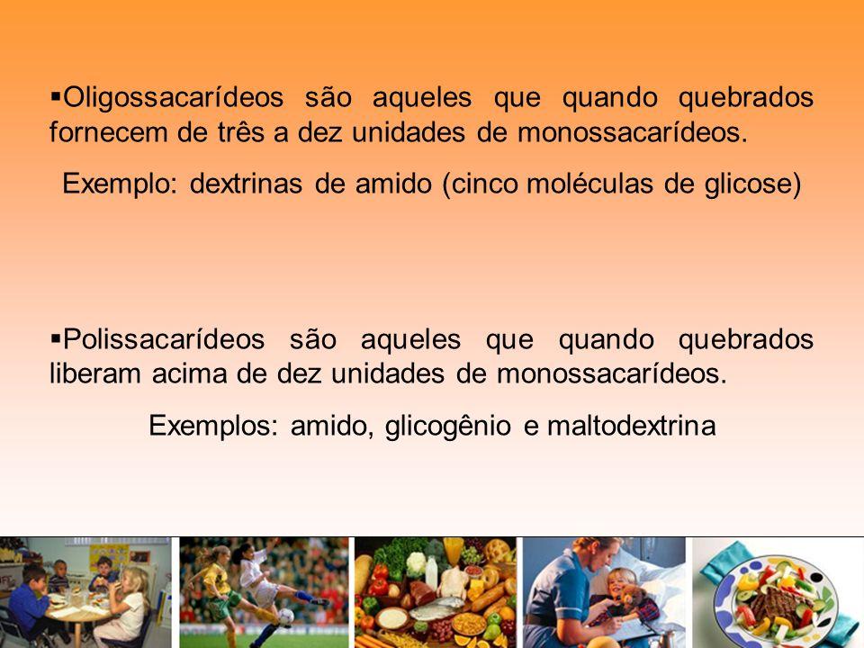 Oligossacarídeos são aqueles que quando quebrados fornecem de três a dez unidades de monossacarídeos. Exemplo: dextrinas de amido (cinco moléculas de