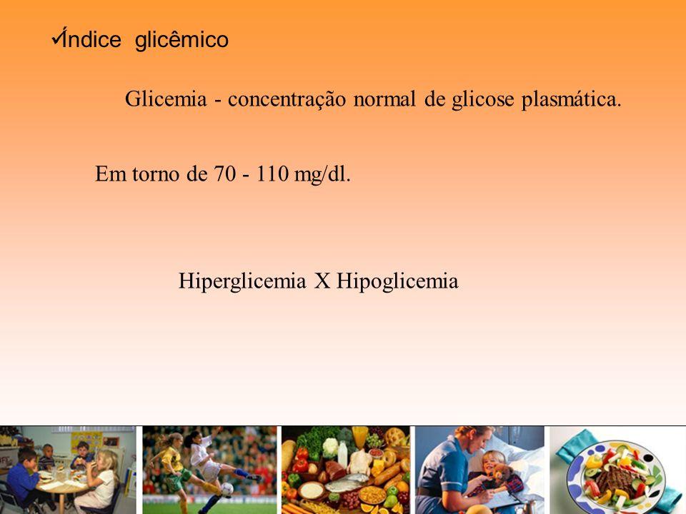 Em torno de 70 - 110 mg/dl. Índice glicêmico Glicemia - concentração normal de glicose plasmática. Hiperglicemia X Hipoglicemia