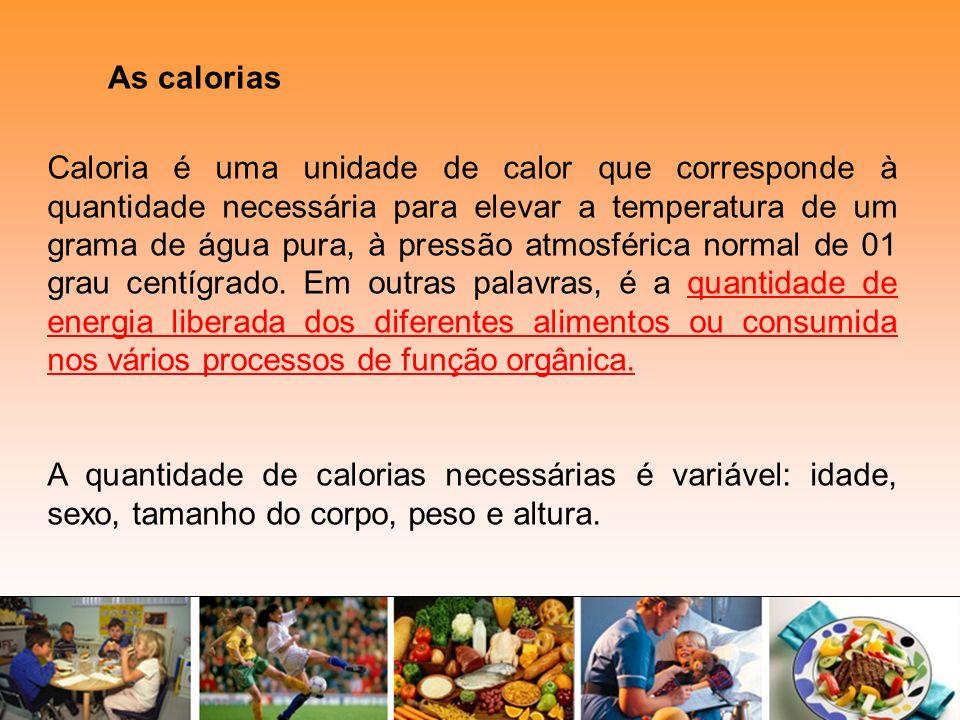As calorias Caloria é uma unidade de calor que corresponde à quantidade necessária para elevar a temperatura de um grama de água pura, à pressão atmos