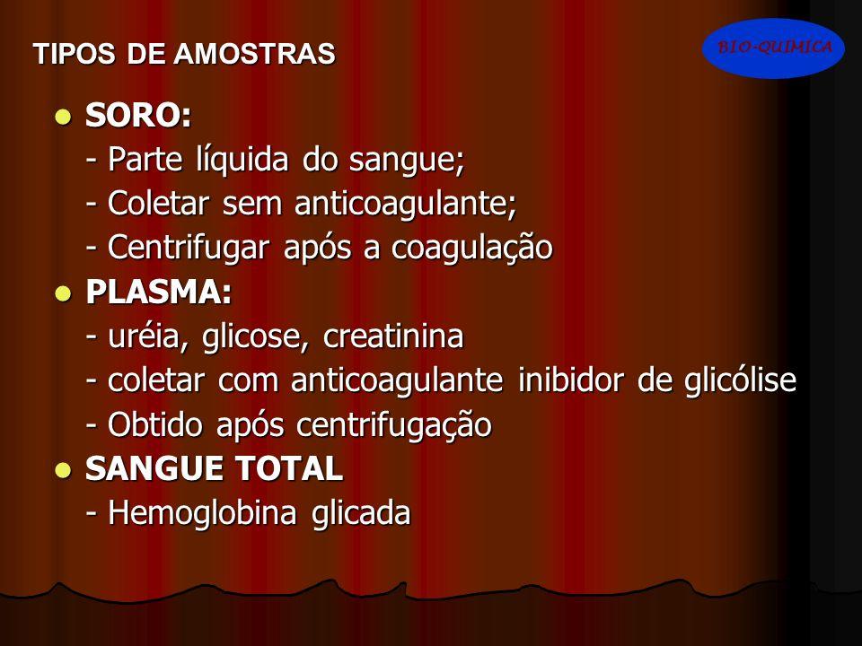 SORO: SORO: - Parte líquida do sangue; - Coletar sem anticoagulante; - Centrifugar após a coagulação PLASMA: PLASMA: - uréia, glicose, creatinina - co