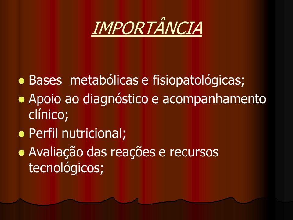 IMPORTÂNCIA Bases metabólicas e fisiopatológicas; Apoio ao diagnóstico e acompanhamento clínico; Perfil nutricional; Avaliação das reações e recursos