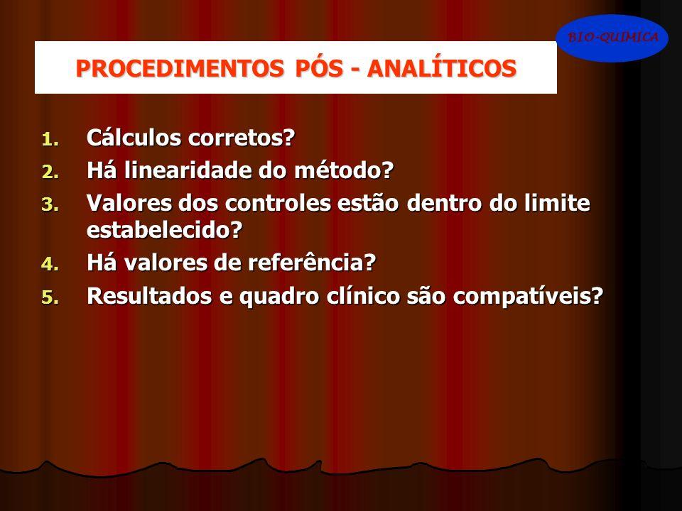 PROCEDIMENTOS PÓS - ANALÍTICOS 1. Cálculos corretos? 2. Há linearidade do método? 3. Valores dos controles estão dentro do limite estabelecido? 4. Há