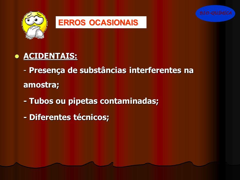 ERROS OCASIONAIS ACIDENTAIS: ACIDENTAIS: - Presença de substâncias interferentes na amostra; - Tubos ou pipetas contaminadas; - Diferentes técnicos; B