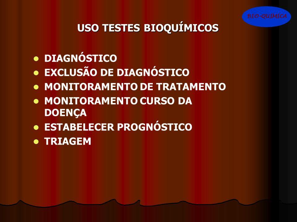 USO TESTES BIOQUÍMICOS DIAGNÓSTICO EXCLUSÃO DE DIAGNÓSTICO MONITORAMENTO DE TRATAMENTO MONITORAMENTO CURSO DA DOENÇA ESTABELECER PROGNÓSTICO TRIAGEM B