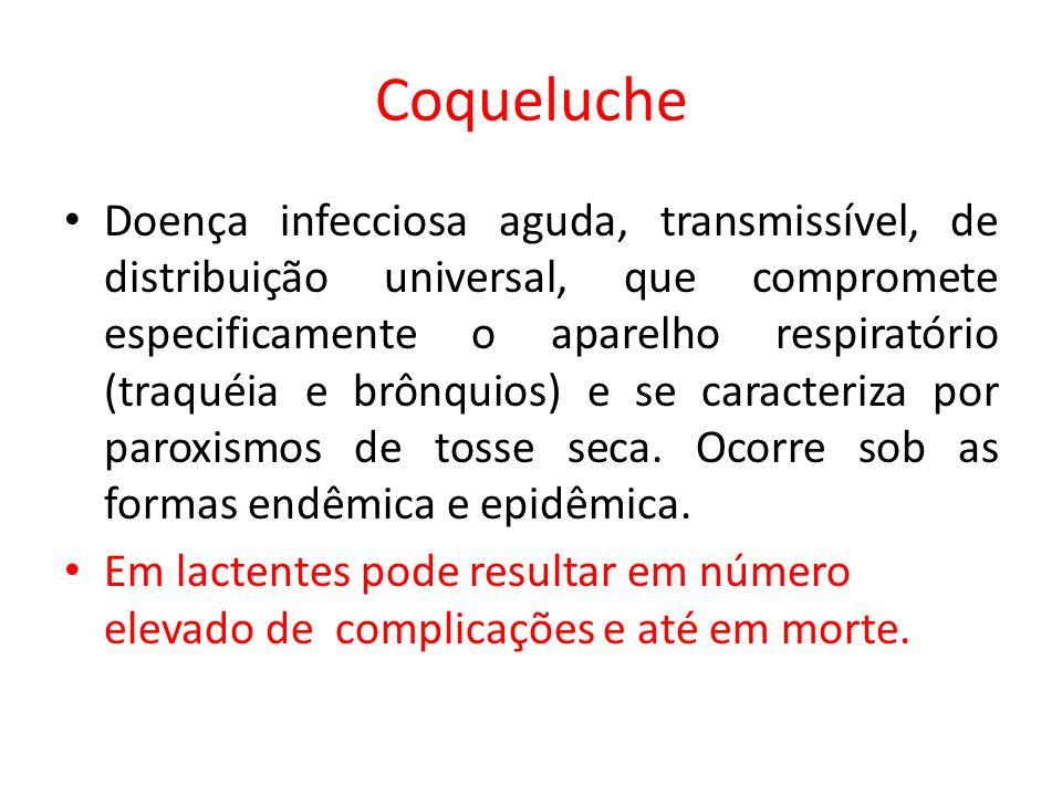 Coqueluche Doença infecciosa aguda, transmissível, de distribuição universal, que compromete especificamente o aparelho respiratório (traquéia e brônq