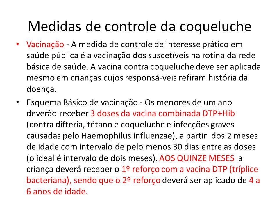 Medidas de controle da coqueluche Vacinação - A medida de controle de interesse prático em saúde pública é a vacinação dos suscetíveis na rotina da re