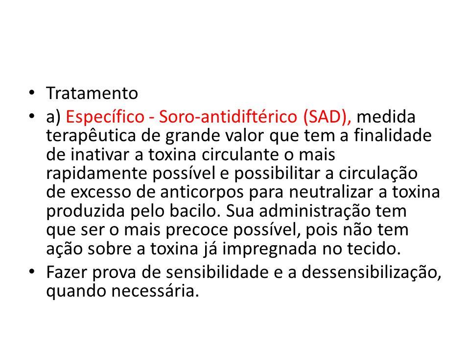 Tratamento a) Específico - Soro-antidiftérico (SAD), medida terapêutica de grande valor que tem a finalidade de inativar a toxina circulante o mais ra