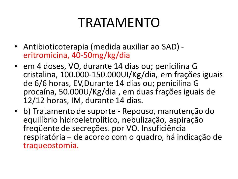 TRATAMENTO Antibioticoterapia (medida auxiliar ao SAD) - eritromicina, 40-50mg/kg/dia em 4 doses, VO, durante 14 dias ou; penicilina G cristalina, 100