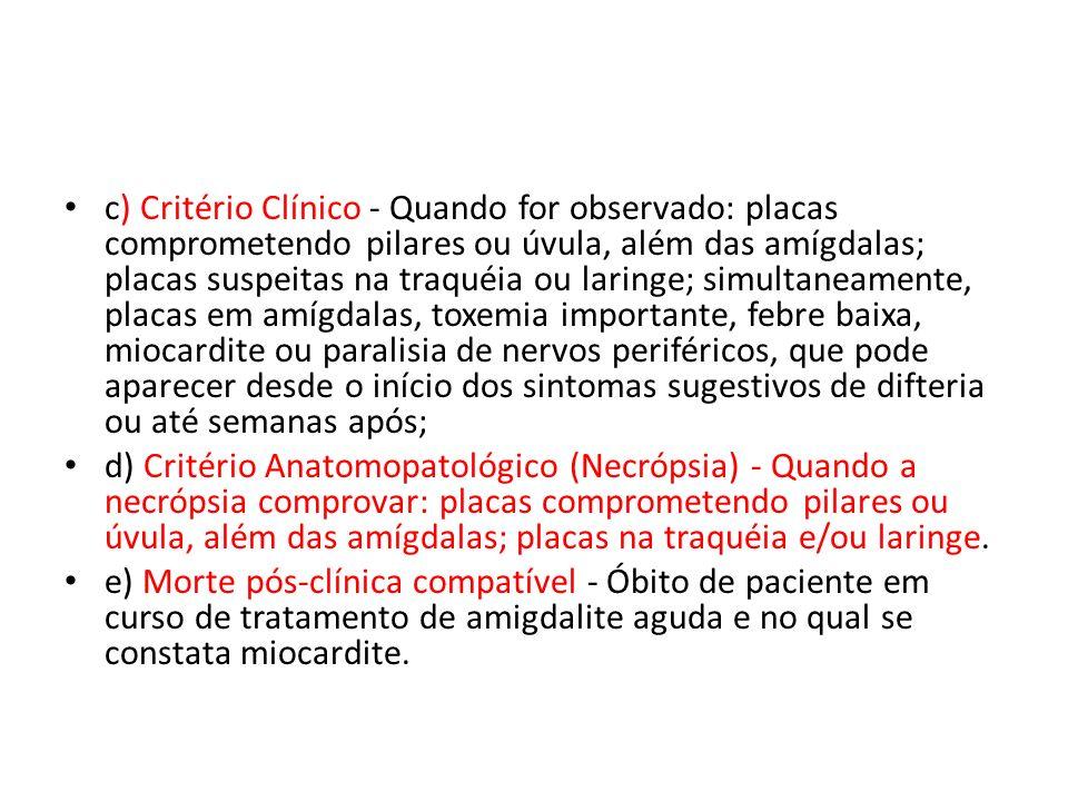 c) Critério Clínico - Quando for observado: placas comprometendo pilares ou úvula, além das amígdalas; placas suspeitas na traquéia ou laringe; simult