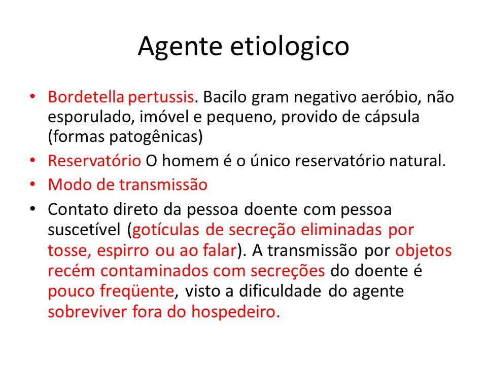 Agente etiologico Bordetella pertussis. Bacilo gram negativo aeróbio, não esporulado, imóvel e pequeno, provido de cápsula (formas patogênicas) Reserv
