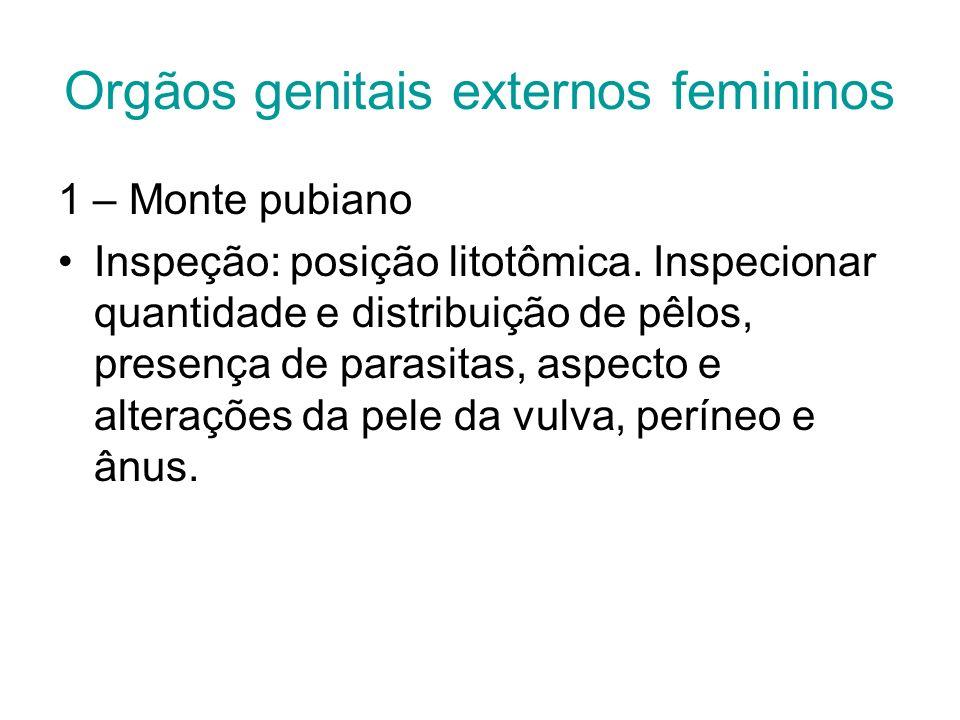 Orgãos genitais externos femininos 1 – Monte pubiano Inspeção: posição litotômica. Inspecionar quantidade e distribuição de pêlos, presença de parasit