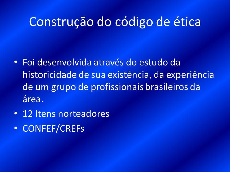 Construção do código de ética Foi desenvolvida através do estudo da historicidade de sua existência, da experiência de um grupo de profissionais brasi