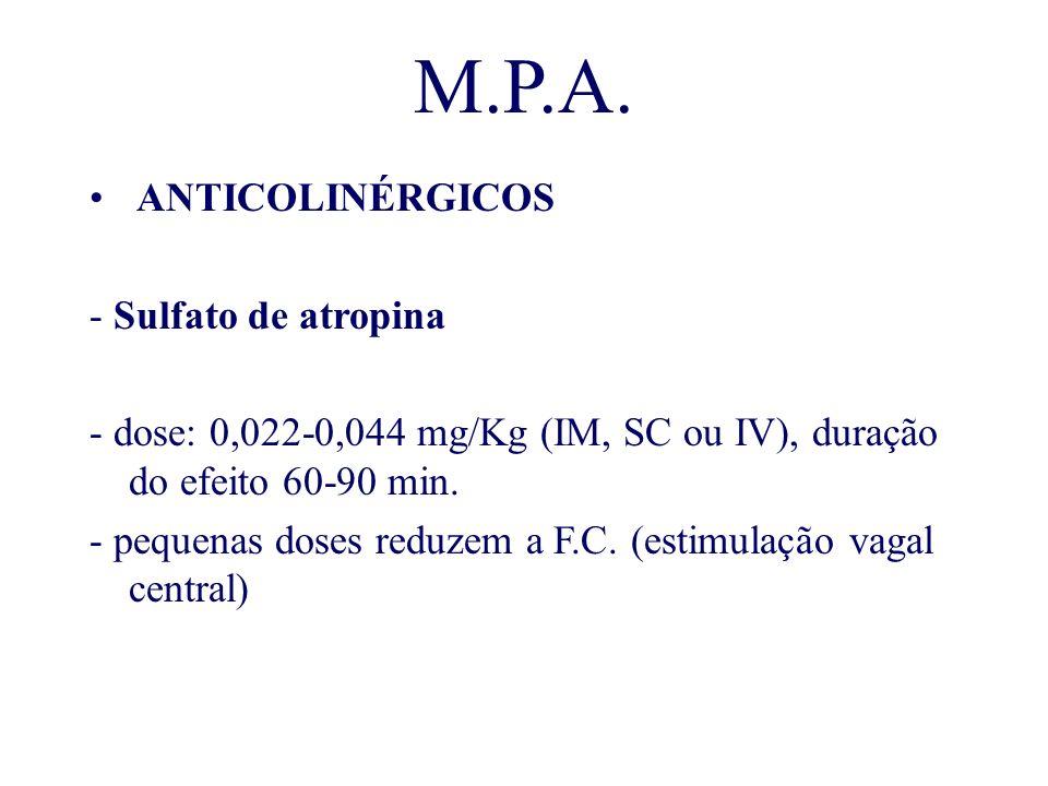 M.P.A. ANTICOLINÉRGICOS - Sulfato de atropina - dose: 0,022-0,044 mg/Kg (IM, SC ou IV), duração do efeito 60-90 min. - pequenas doses reduzem a F.C. (