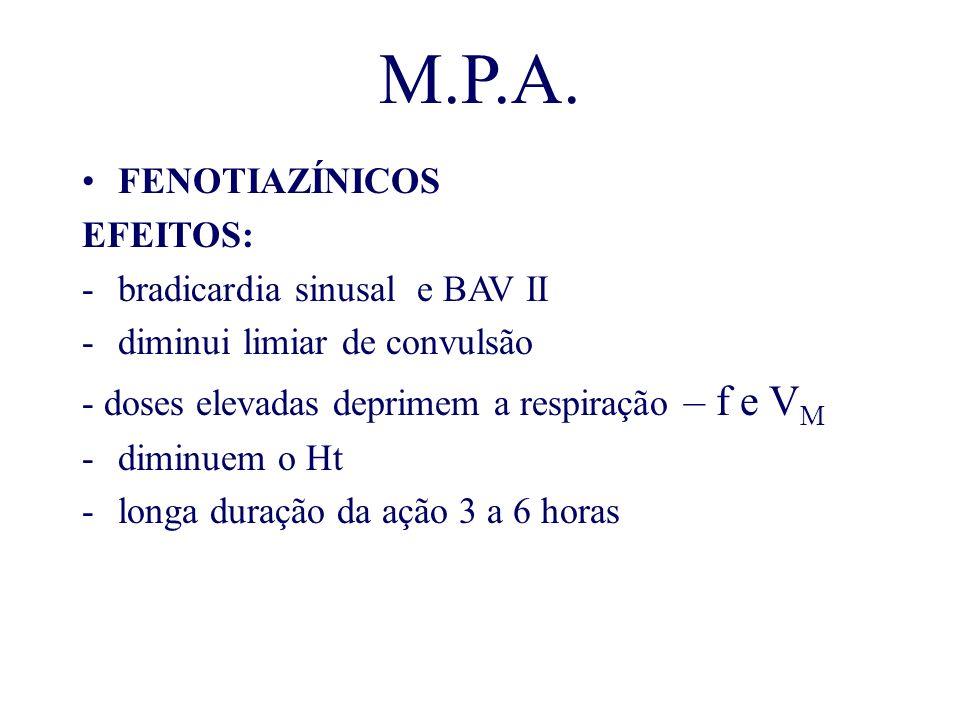 M.P.A. FENOTIAZÍNICOS EFEITOS: -bradicardia sinusal e BAV II -diminui limiar de convulsão - doses elevadas deprimem a respiração – f e V M -diminuem o