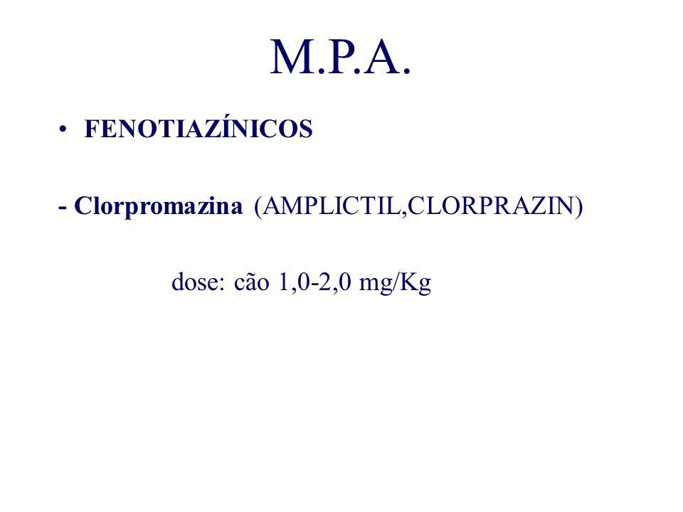 M.P.A. FENOTIAZÍNICOS - Clorpromazina (AMPLICTIL,CLORPRAZIN) dose: cão 1,0-2,0 mg/Kg