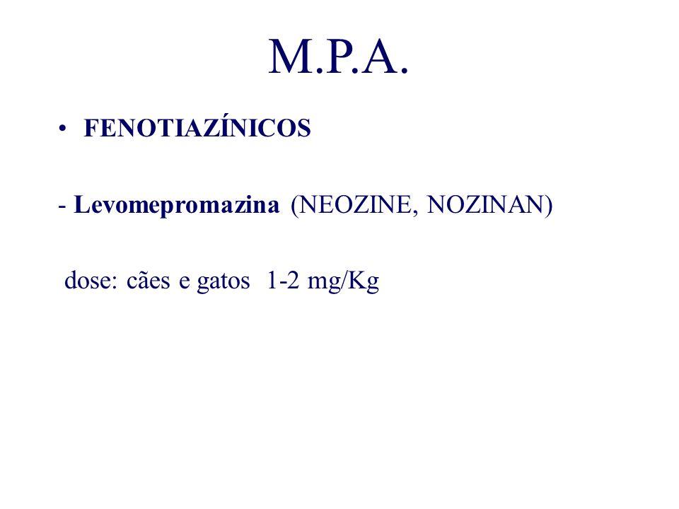 M.P.A. FENOTIAZÍNICOS - Levomepromazina (NEOZINE, NOZINAN) dose: cães e gatos 1-2 mg/Kg